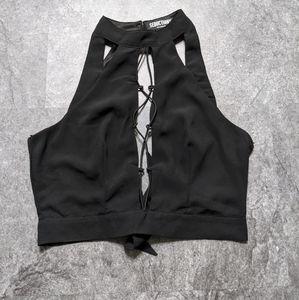 Seductions lace up choker neckline bralete  crop top